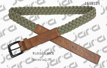 China Khaki Polyester / Brown PU Mens Braided Belts With Square PU Tip 3.4cm Width supplier