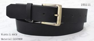 China Classic Black Womens Leather Belt With Screw Part Gold Satin Buckle 3.8cm Width supplier