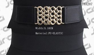 China Wide Black Womens Stretch Belts Gold Hollowed Buckle Available 5.1cm Width supplier