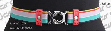 China Rainbow Elastic Tape Womens Stretch Belts PU Part / Nickel Buckles Available supplier
