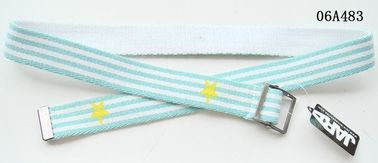 China Turquoise Blue Kids Web Belt Mixed Polyester Stripes / Old Silver Buckle Available supplier