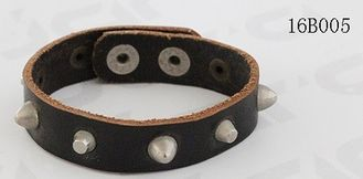 China Black Leather PU Leather Bracelet Antic Silver Heavy Metals Buckle Available supplier