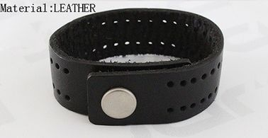 China 2.1cm Width Black PU Leather Bracelet With Snap Buttons / Punching Holes supplier