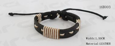 China 1.5cm Width Hand Stitching PU Leather Bracelet In Black / Dark Brown Color supplier