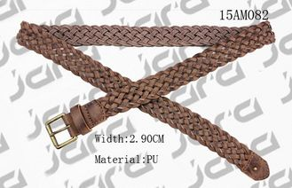 China 3.0cm Width Brown PU Mens Braided Belts With Old Brass Roller Buckle supplier