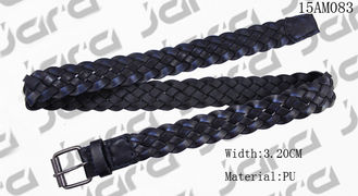 China Old Silver Roller Buckle Mens Braided Cloth Belts , Black PU Woven Leather Belt supplier