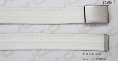 China Curved Webbing Tape White Color Polyester Belt With Antic Silver Clip Buckle In 3.70cm supplier