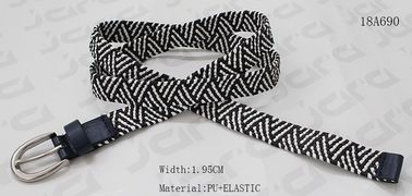 China 1.95 Cm Black / White Fabric Elastic Belt , Nickel Zinc Alloy Buckles Stretch Belts supplier