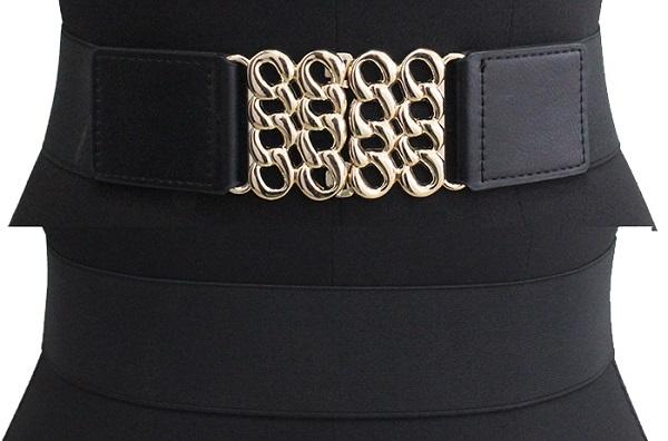 Wide Black Womens Stretch Belts Gold Hollowed Buckle Available 5.1cm Width