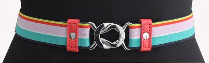 Rainbow Elastic Tape Womens Stretch Belts PU Part / Nickel Buckles Available