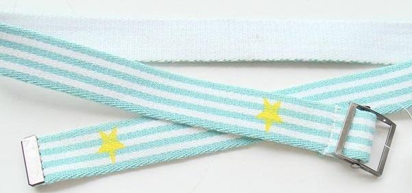 Turquoise Blue Kids Web Belt Mixed Polyester Stripes / Old Silver Buckle Available