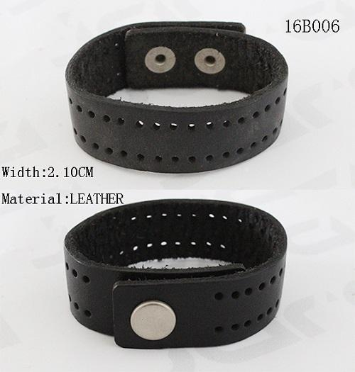 2.1cm Width Black PU Leather Bracelet With Snap Buttons / Punching Holes
