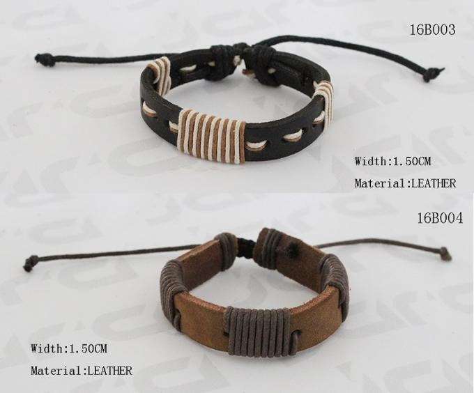 1.5cm Width Hand Stitching PU Leather Bracelet In Black / Dark Brown Color