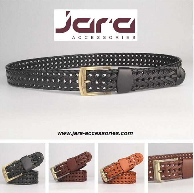 3.0cm Width Brown PU Mens Braided Belts With Old Brass Roller Buckle