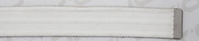 Curved Webbing Tape White Color Polyester Belt With Antic Silver Clip Buckle In 3.70cm