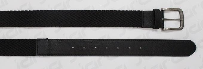 Wave Surface Black / Red Polyester Webbing Belt With PU Tip , 3.7cm Width