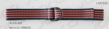 Navy / Orange Cool Web Belts With Mixed Colors / Double D Rings Buckles 3cm Width