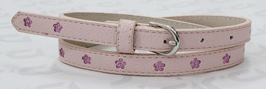 Pink Round Tip Kids Fashion Belts With Punching Shiny PU Flowers 1.5cm Width