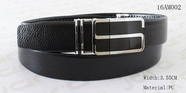 Nickel / Black PU Automatic Buckle Belt With Zinc Alloy Buckle 3.55cm Width