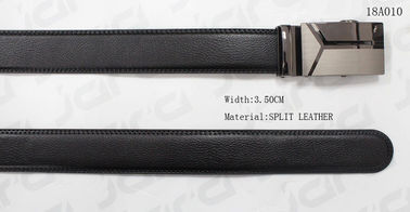 Embossed Logo Black Automatic Buckle Belt For Mens Gun Metal Buckle Available
