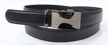Black Split Leather Automatic Buckle Belt With Black Nickel Satin Zinc Alloy Buckle