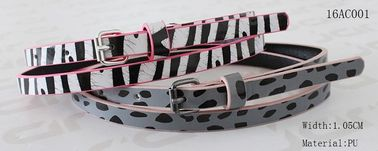 Skinny Silk Printing Kids Fashion Belts Zebra / Leopard Printing Patterns Available