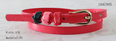 Gold Zinc Alloy Buckle Red Kids Belt For Girls Inside Shape Logo Available