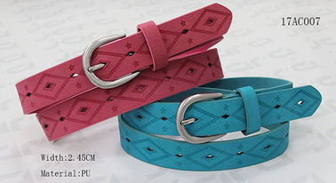 Embossed Patterns Childrens Elastic Belt , Antic Silver Buckle Kids PU Belt