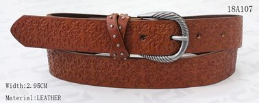 3cm Embossed Patterns Womens Leather Belt Screw Part And Metal Studs On Loops