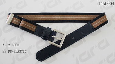 Antic Silver Buckle Navy PU Tip Elastic Clip Belt , Adjustable Clip Childrens Elastic Belt