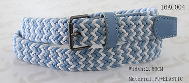 Blue / White Braided Kids Elastic Belts For Boys Old Silver Roller Buckle Available