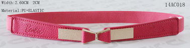 Metal Bowtie Buckle Fushcia Kids Elastic Belts With PU Part 2.5cm Width