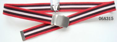 Nickel Satin Military Plate Buckle Boys Web Belt , White / Red Kids Webbing Belts