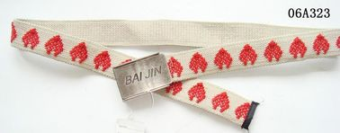 Woven Heart Polyester Kids Web Belt With Old Silver Clip Buckle 3.5cm Width