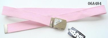Pink Polyester Kids Web Belt Printing Nickel Satin Military Plate Buckle Available