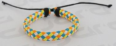 Mixed Colors Braided PU Leather Bracelet Both For Adult And Kids 1cm Width