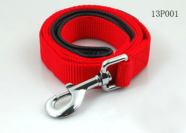 Red / Black Strong Polyester Rope Dog Leash With Nickel Metal Hook / Nickel Buckle