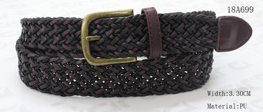 PU / Wax Rope Ladies Braided Belts For Women With Antic Brass Buckle & PU Tip