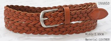 Tan Womens Braided Belt For Lady With Nickel Satine Buckle & Leather Tip