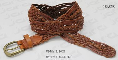 Brown Geniune Leather Braided Belt For Lady , Decoration Belt With Antic Brass Buckle