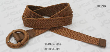 Fashion Wax Rope Womens Braided Belt Buckle In Brown For Lady In 29mm