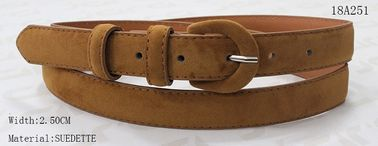 Fake Suede Womens Leather Belt With Elegant PU Covered Buckle In Tan Color