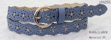 Fashion Light Blue PU Ladies Waist Belt Special Punching Holes & Metal Studs Decoration