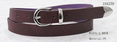 Fake Lizard Pattern Purple Womens Fashion Belts With Nickle Buckle , Metal Loop , Metal Tip