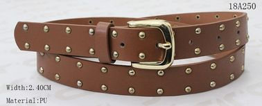 Uni - Sex Classic Brown PU Belt , Womens Waist Belt With Gold Metals & Buckle For Girls